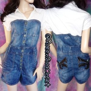 Denim jean bustier button up shirt romper shorts